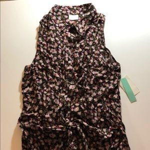 Tie front tank top blouse